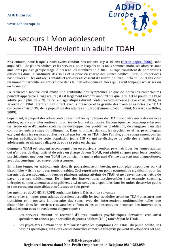 Adult TDAH Courrier ADHD Europe 1